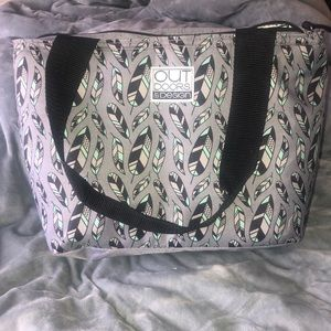 Other - Gray and turquoise feather lunch cooler